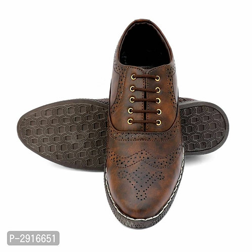 Dark Brown Textured Synthetic Leather Formal Shoes