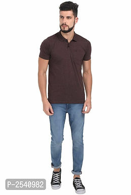 Brown Solid Polo T-Shirt