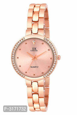 Rose gold Attractive Peach Metal Strap Watches For Women