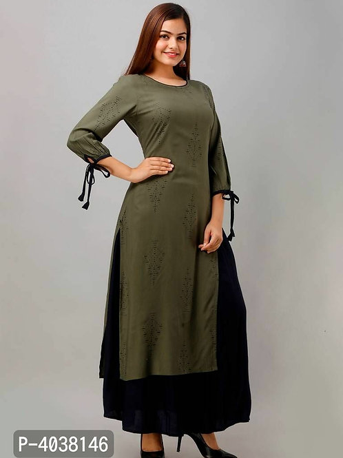Stylish Olive Kurta With Palazzo