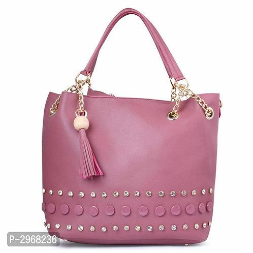 Pink PU Hand-held Bag