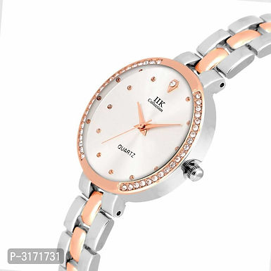Silver Attractive Peach Metal Strap Watches For Women