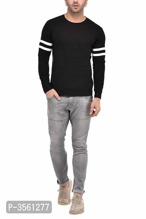 Men's Black Self Pattern Cotton Round Neck Tees