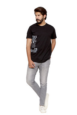 Grey Printed Round Neck Tshirt