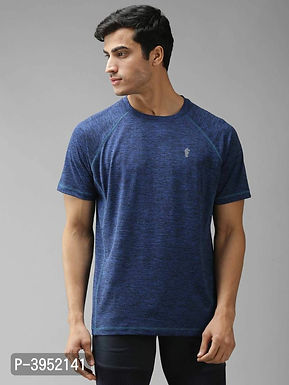 Men's Solid Polyester Navy Blue Sports Tshirt