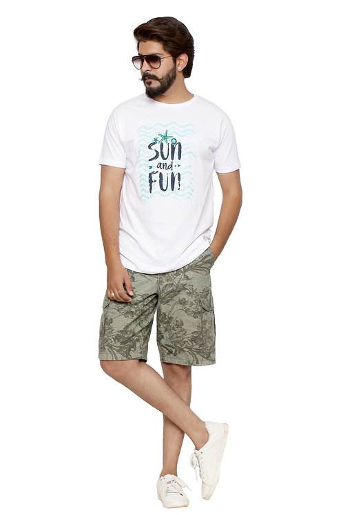 Sun & Fun ; Roll -Printed Round Neck Tshirt