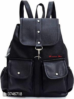 Black PU Backpacks For Women