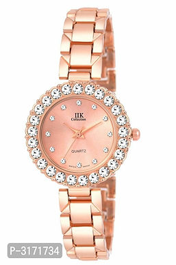 Studded Rose gold Attractive Peach Metal Strap Watches For Women