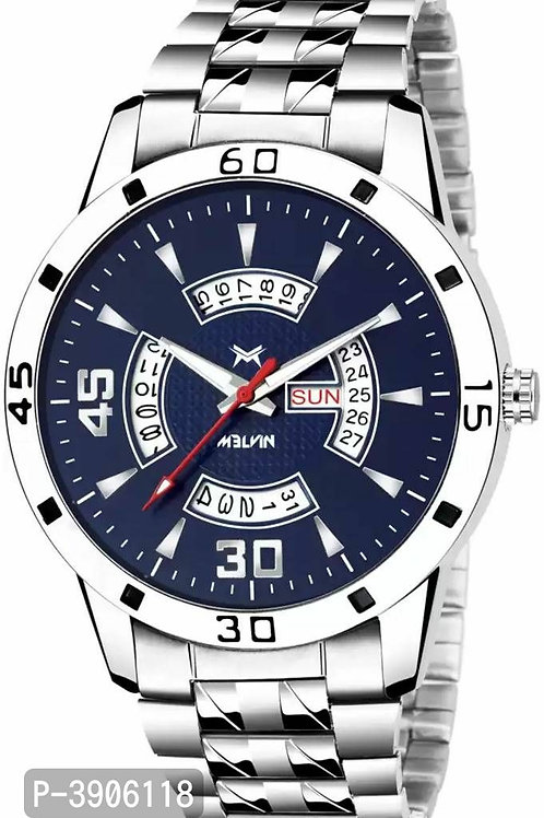 Metal  Blue dial Day & Date Watch For Men