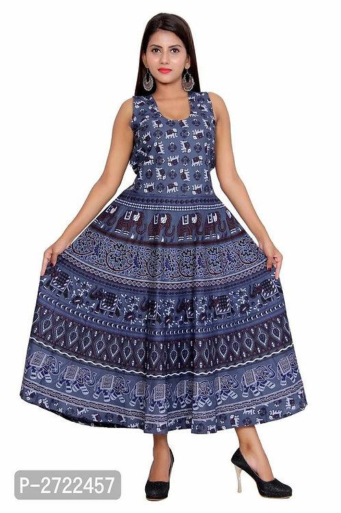 Regular Wear Blue Cotton Long Flared Kurta