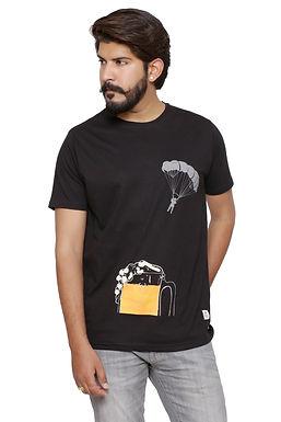 Printed Black Round Neck Tshirt