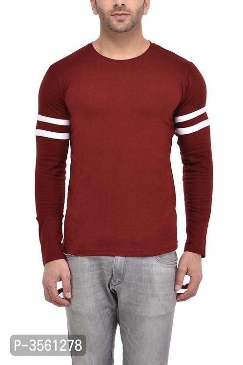 Men's Maroon Self Pattern Cotton Round Neck Tees