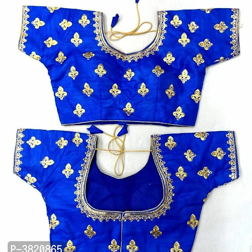 Blue Embroidered Stitched Blouses
