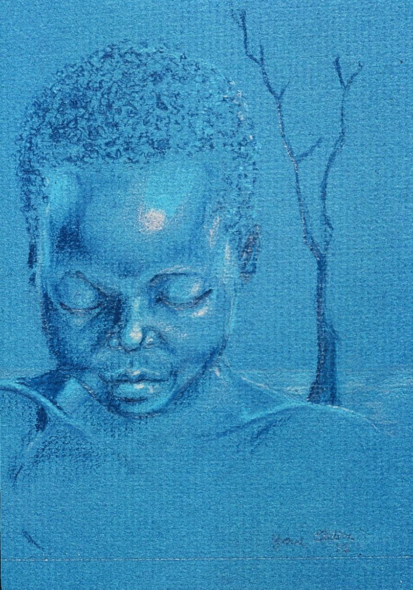 Blue Portrait, Pastel, Yvonne Littleton