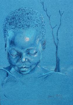 Blue Portrait, Pastel, Yvonne Littleton