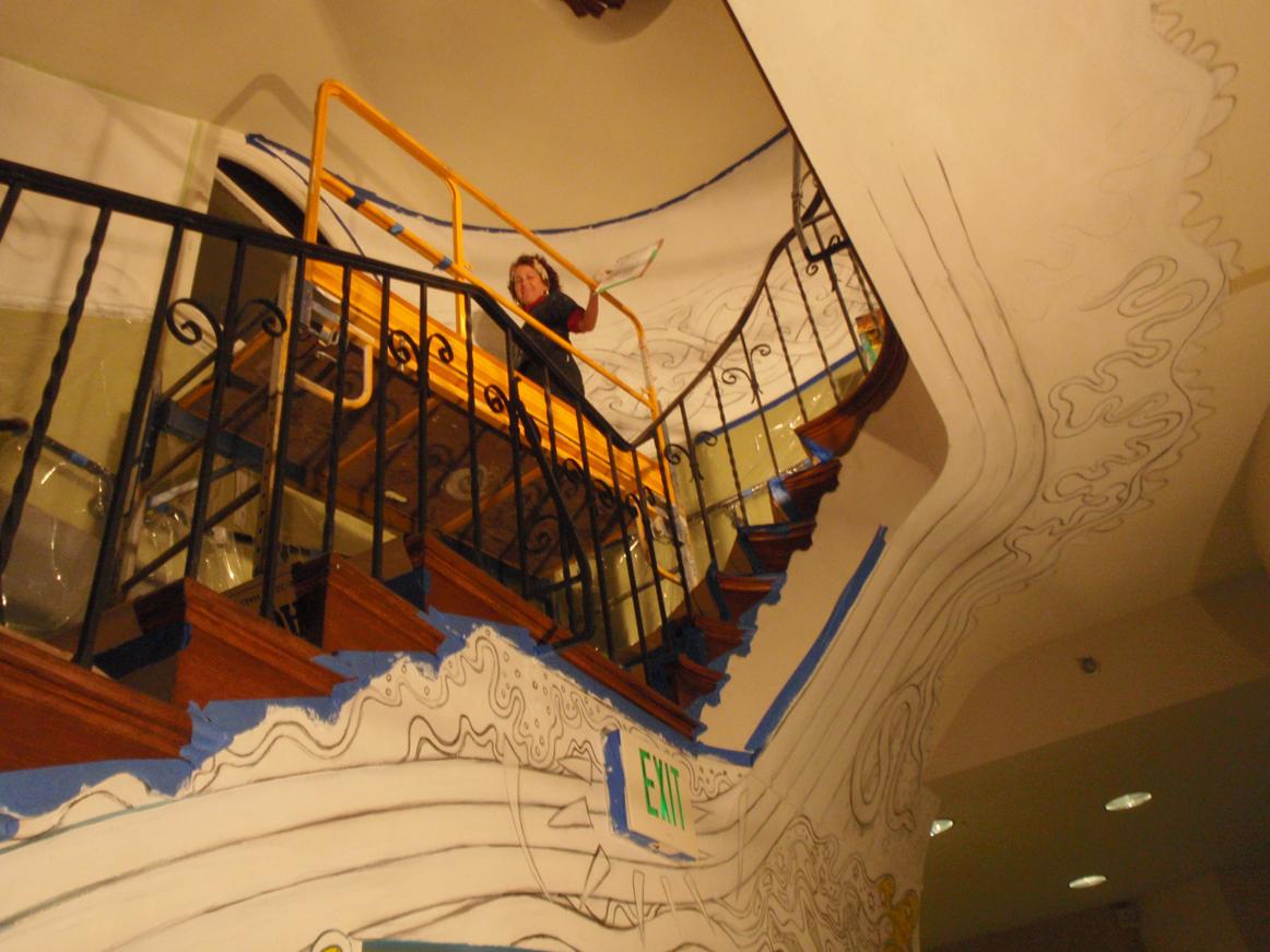 Ceiling drawing & Miranda in Stairwell