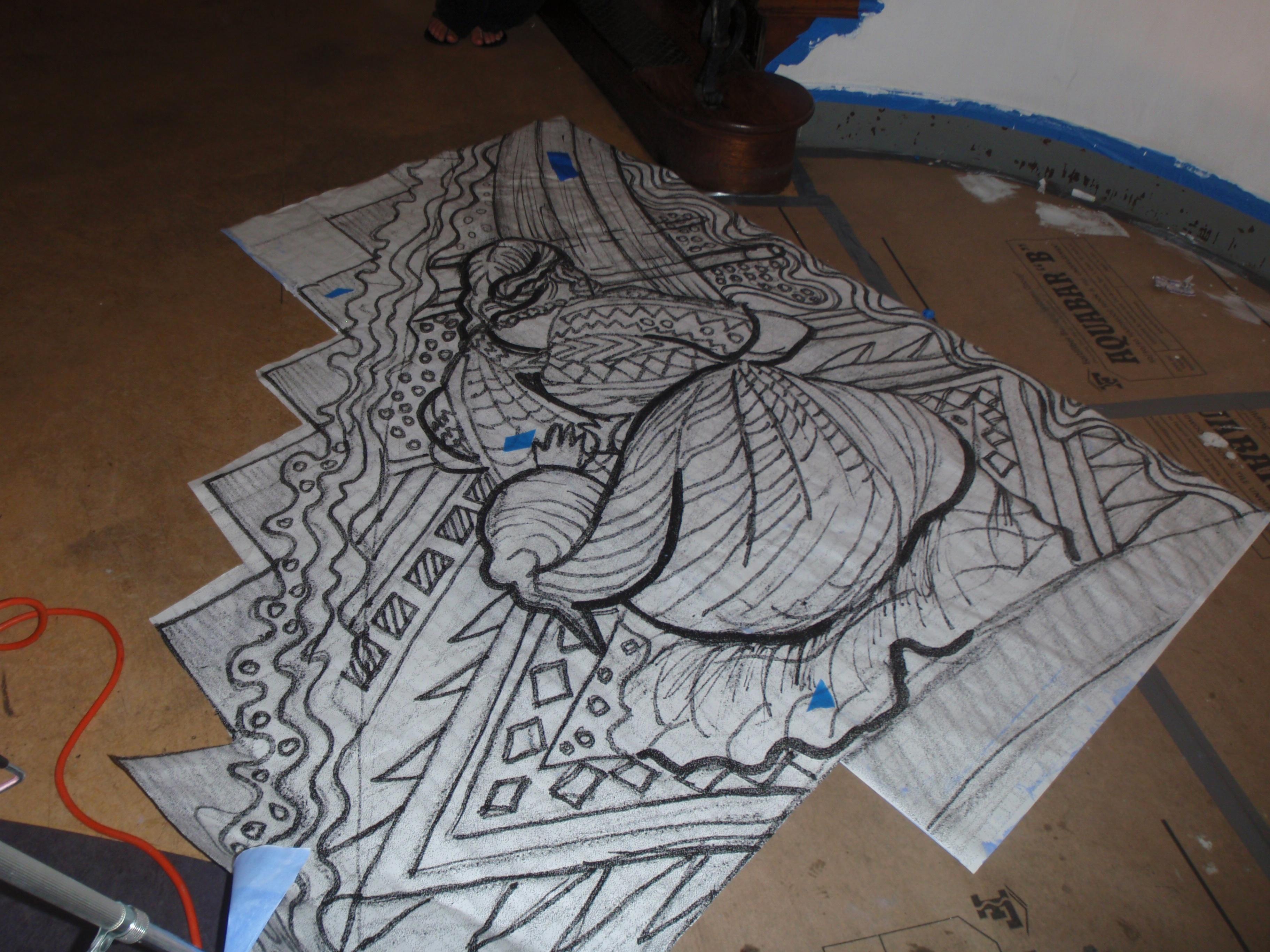 Dibujo de la tejedora
