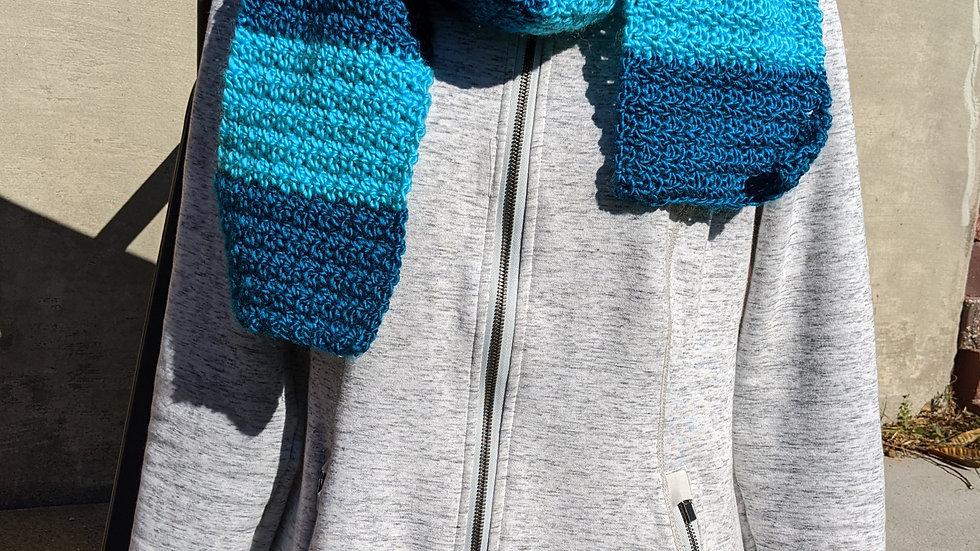 Handmade Scarf - Teal & Turquoise Stripe