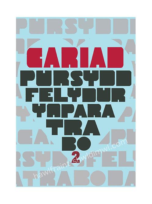 Poster Cariad Pur + Carden Cariad Mawr