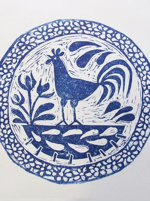 Antique Plate Lino Print