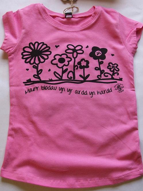 Crys-T Blodau yn yr ardd/Flowers T-Shirt