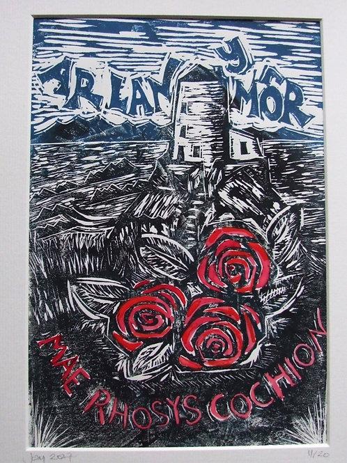Print Lino Ar Lan y Môr 1/Lino print