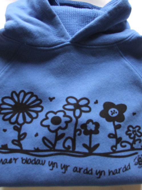 Hoodie Blodau yn yr ardd/Flowers Hoodie