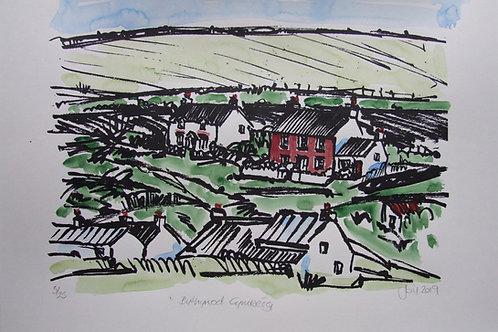 Print Bythynod Cymreig/Welsh Cottages Silkscreen Print