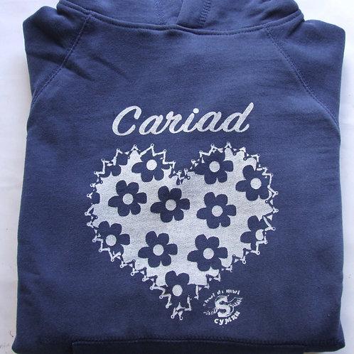 Hoodie Cariad/Blodau
