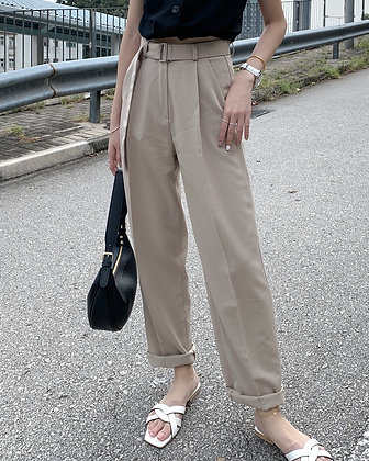 straight fit pants with belt