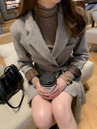 herringbone blazer dress with belt