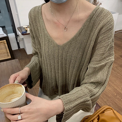 cropped loose knit top
