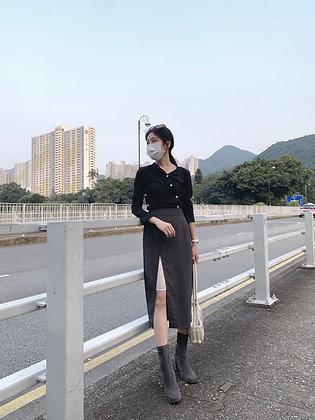 sleek slim cut midi skirt