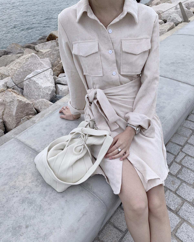 Thumbnail: corduroy shirt wrap dress
