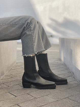 square-toe high boots
