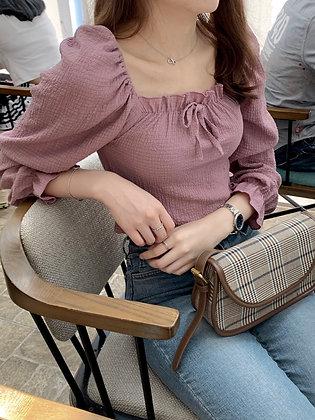 feminine square neck blouse
