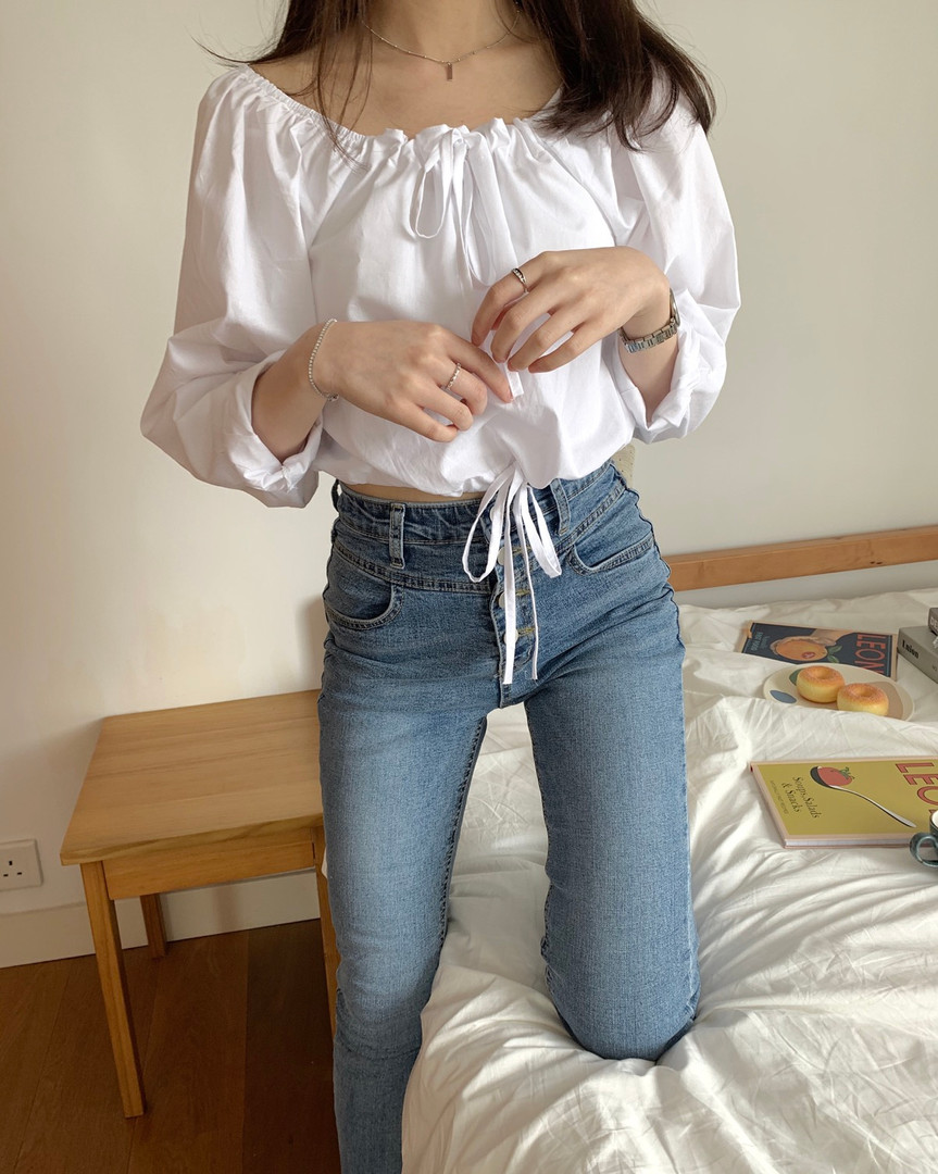 square neck tie blouse