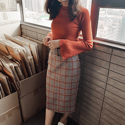 checked midi skirt with belt