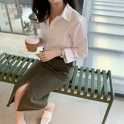 top stitching stretchy midi skirt