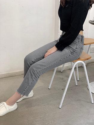 TQ604 mid rise grey straight jeans