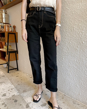 BK957 top stitching straight fit jeans