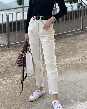 853 high waisted top stitching jeans