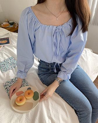 square neck tie blouse