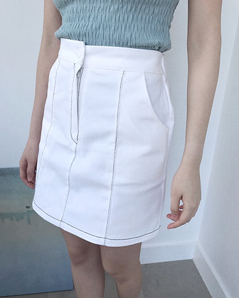 Contrasting Top-stitching A-line Skirt