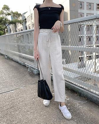 linen blend waistband wide leg pants