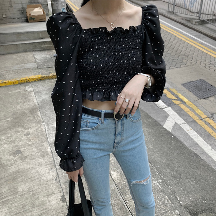 dotted square neck blouse