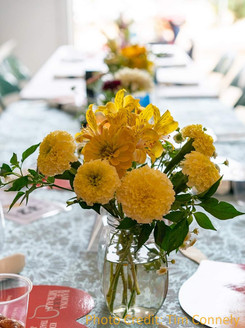 Marigolds, Alstroemeria with Ornamental peppers