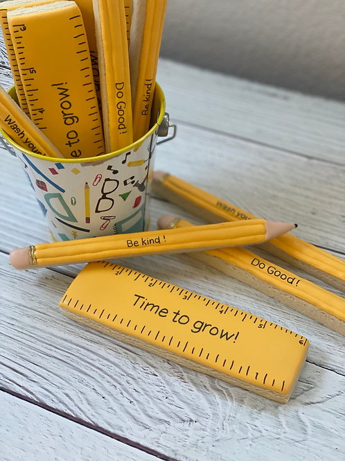 Pencils & Rulers in a Bucket