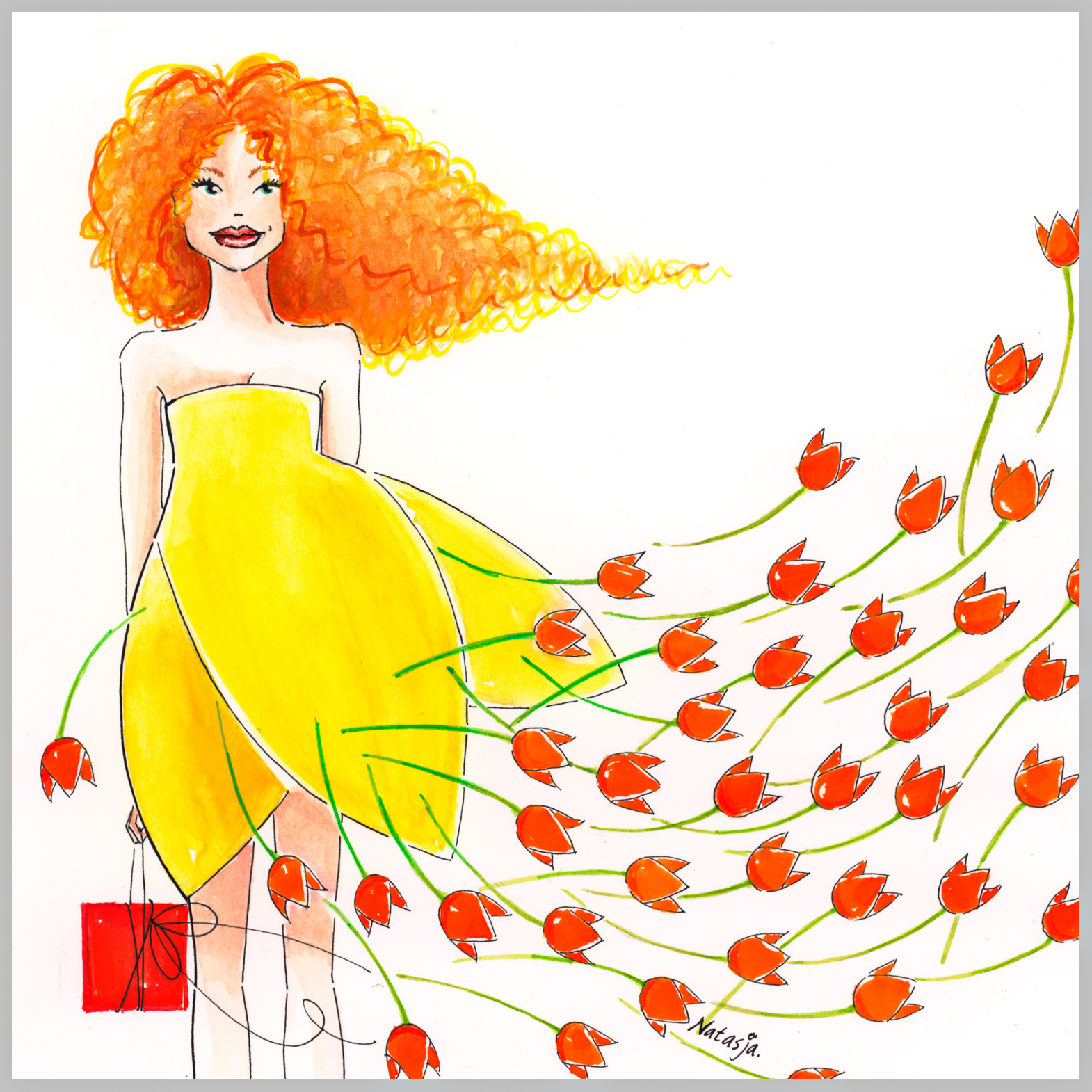 tulpenmeisje met koninginnehaar