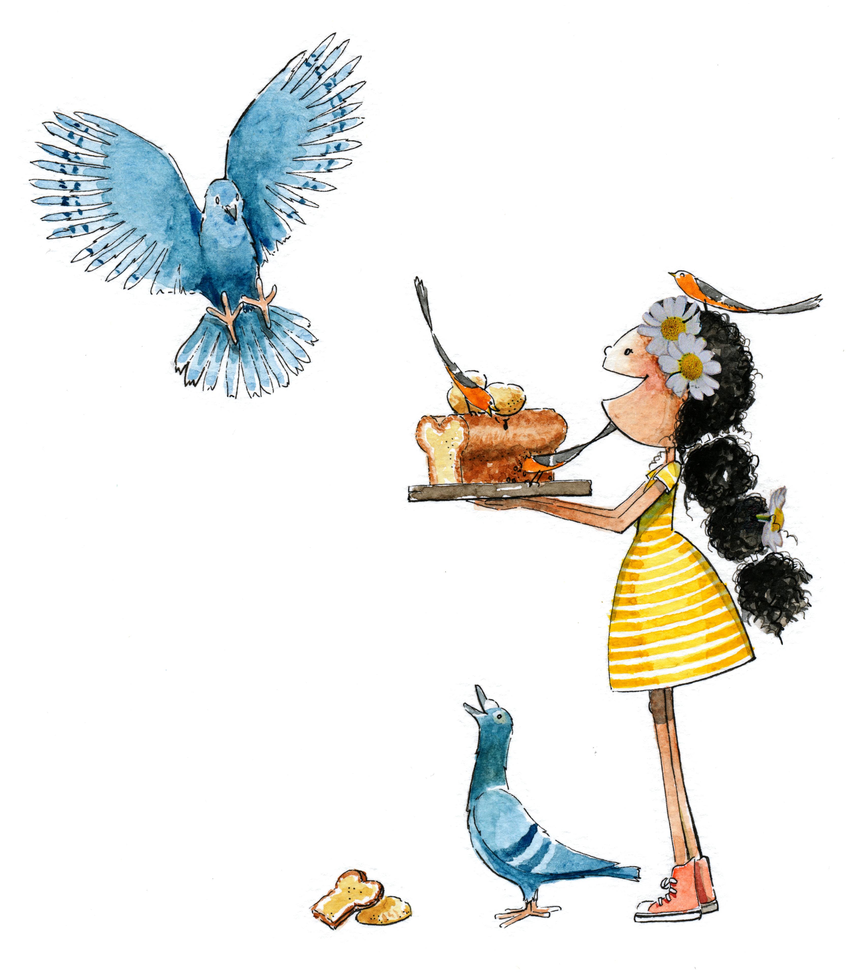 nadia voert de duiven